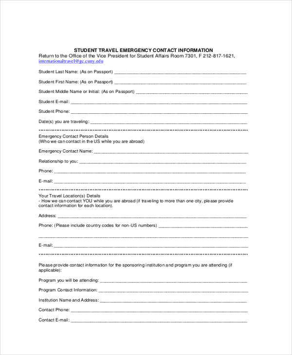 34 Emergency Contact Forms – Emergency Contact Forms