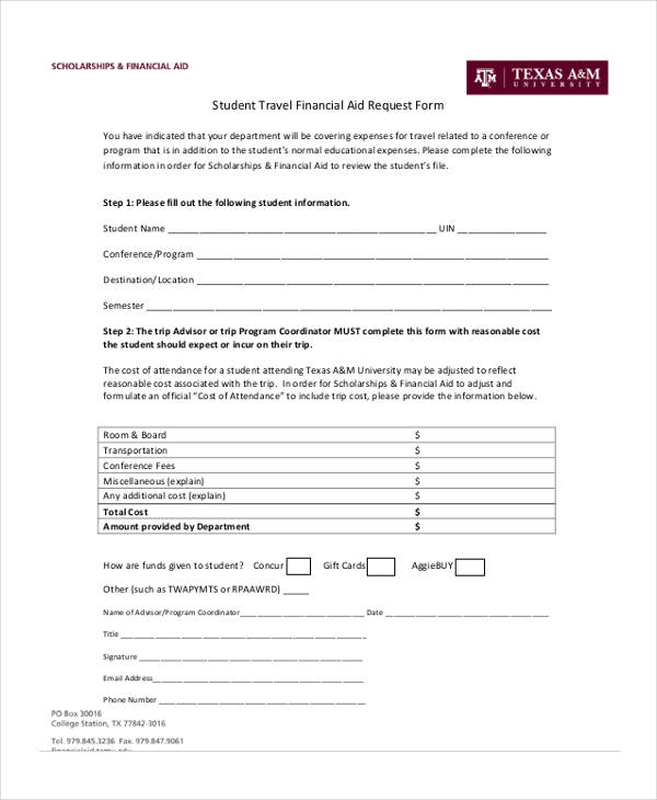 student travel financial aid request form