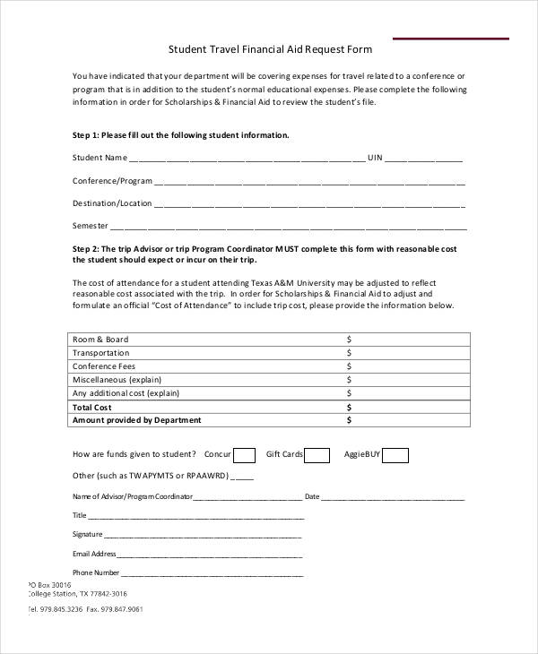 student travel financial aid request form1