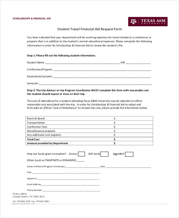 student travel financial aid request form2