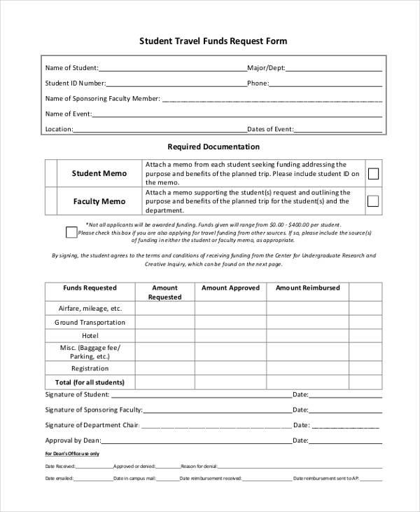Student Travel Request Forms