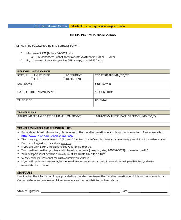 student travel signature request form