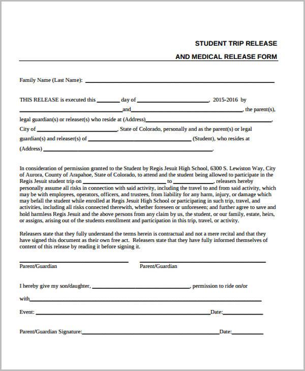 student trip medical release form1
