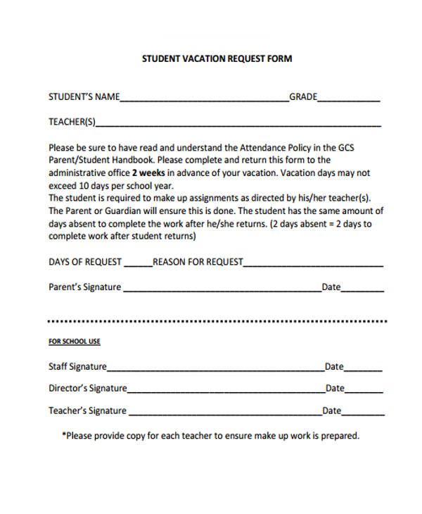 Request Forms in PDF – Student Request Form