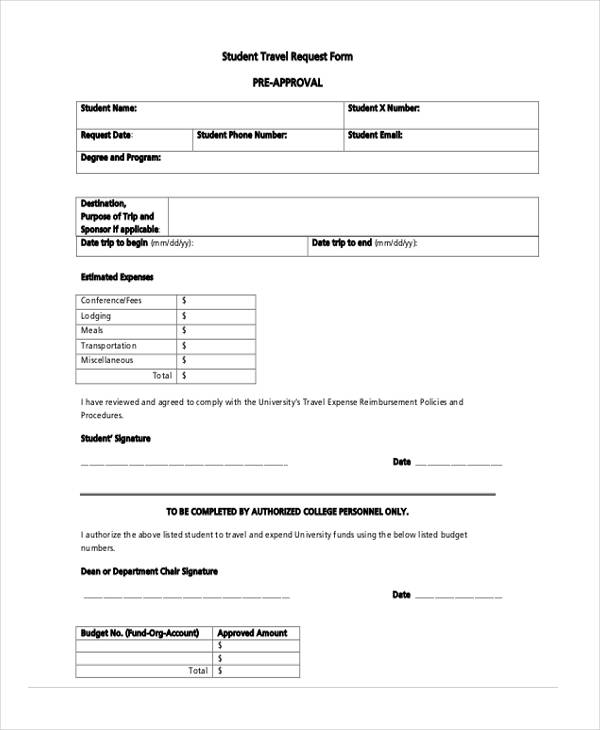 students travel request approval form