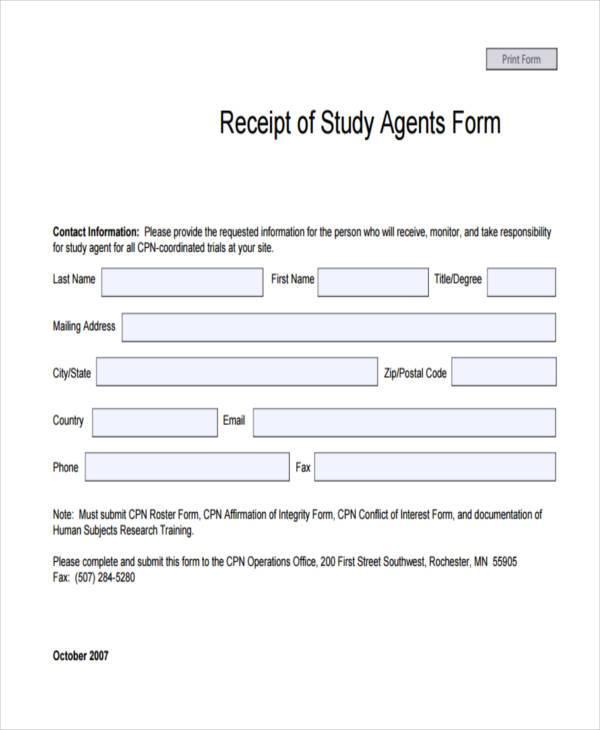 study agent receipt form