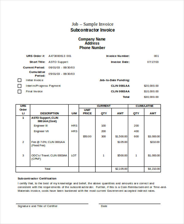 sub constractor job invoice form