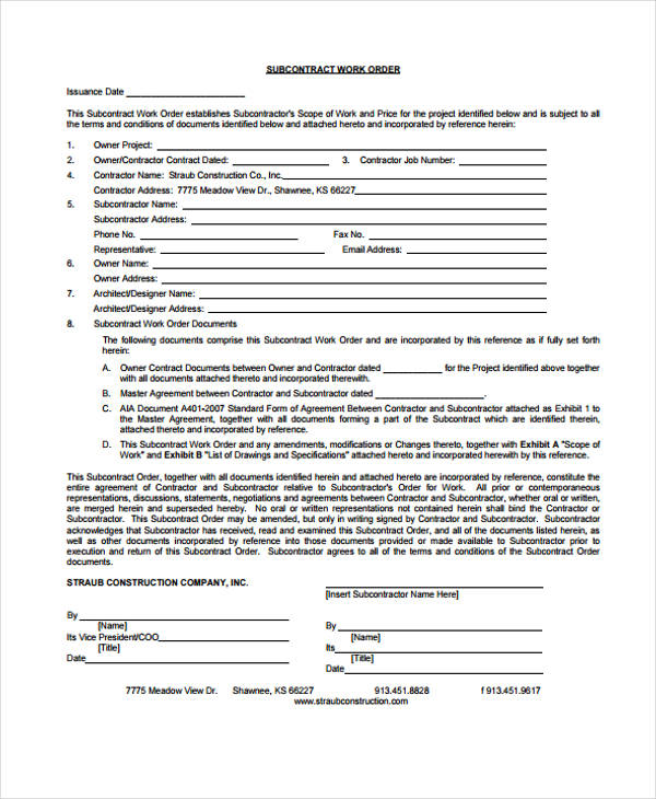 Sub Contract Work Order Form
