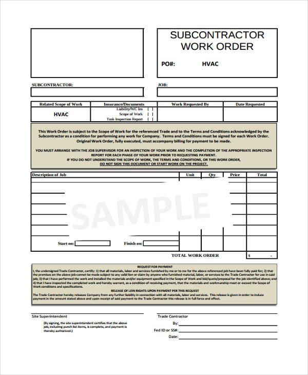20 Sample Work Order Forms – Contractor Work Order Form