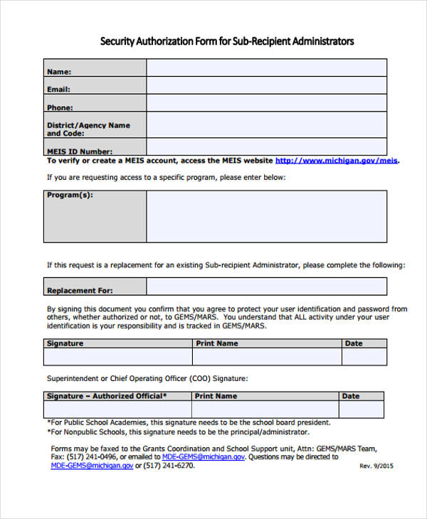 sub recipient security authorization form1