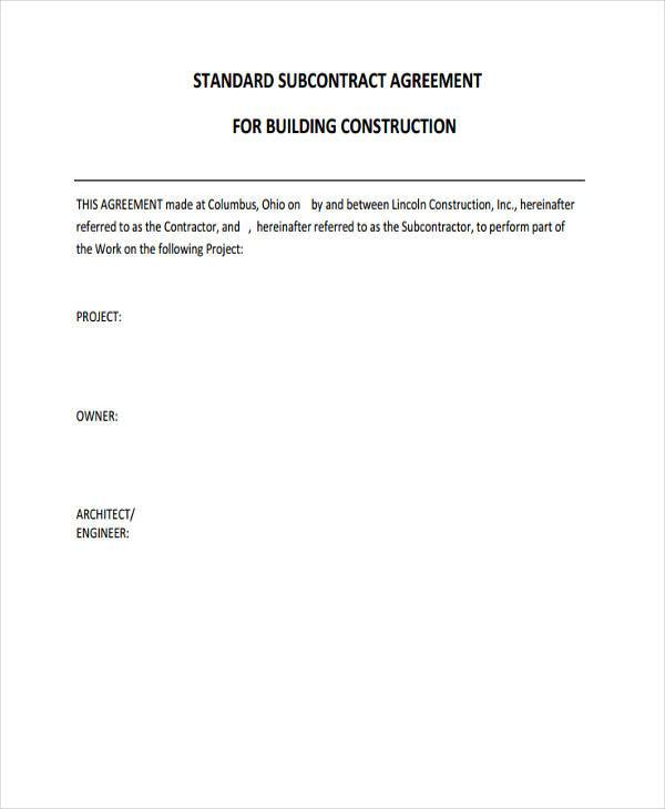subcontractor construction agreement form