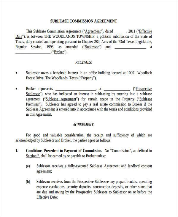 sublease commission agreement form