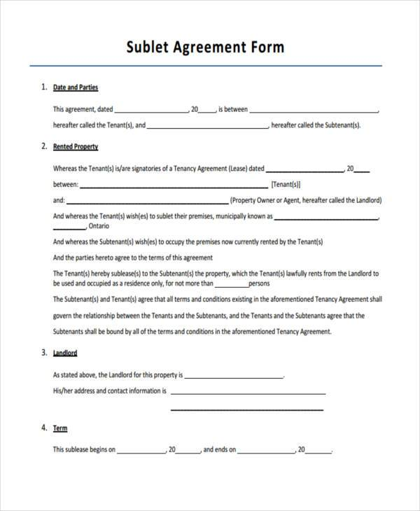 sublet agreement form example