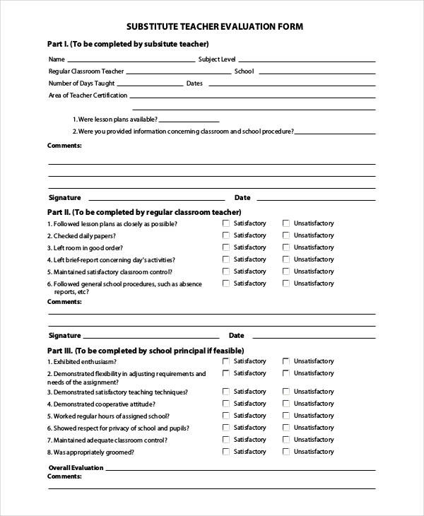 20 Sample Teacher Evaluation Forms