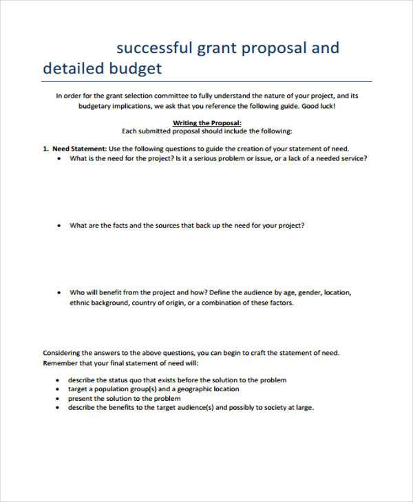 successful grant proposal budget form