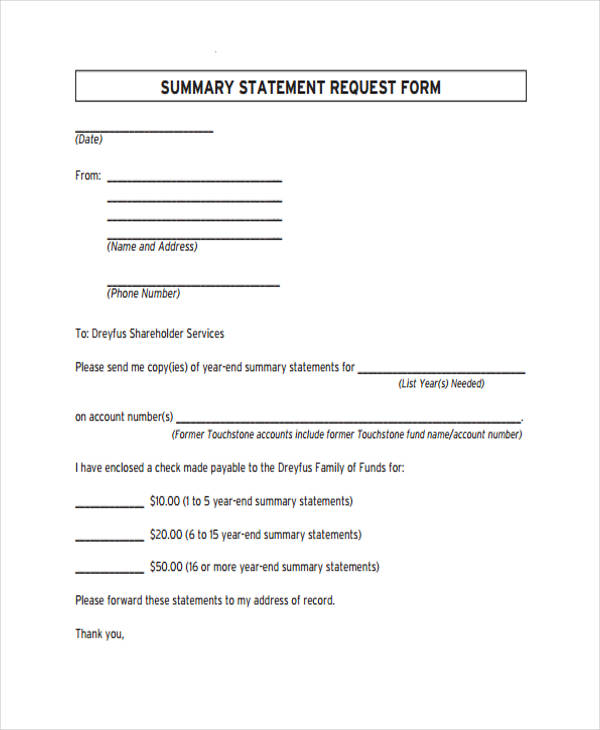 summary statement request form