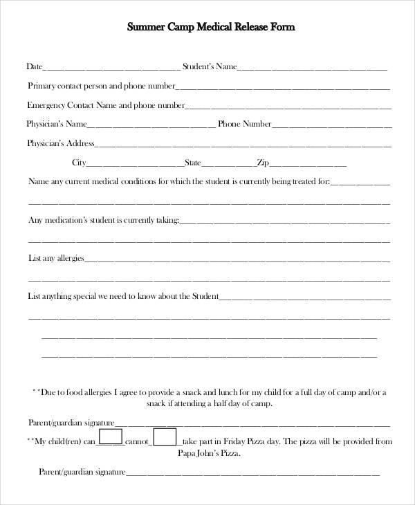 summer camp medical release form