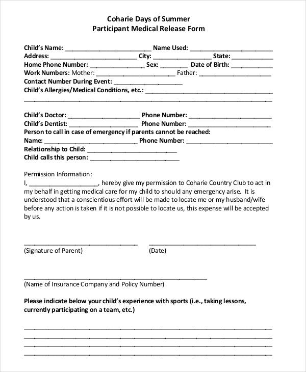 summer participant medical release form1