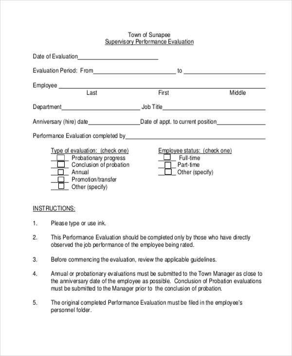 supervisor performance employee evaluation form