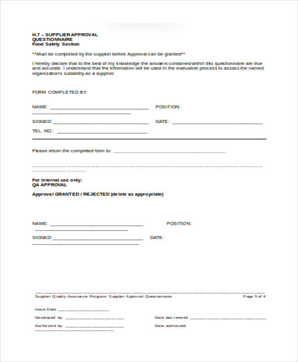 supplier approval questionnaire