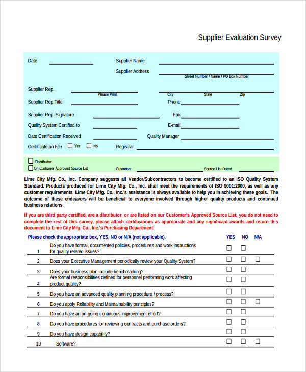 supplier evaluation survey form2