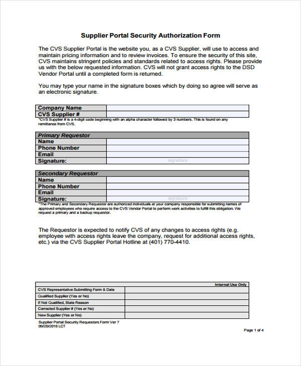 supplier portal security authorization form
