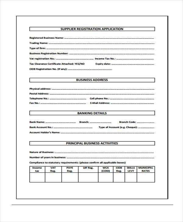 supplier registration application form