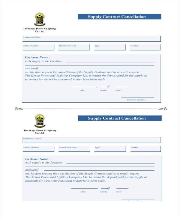 supply contract cancellation form