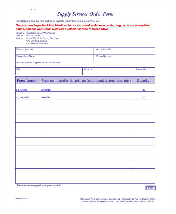 supply service order form