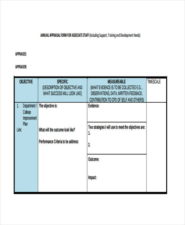 support staff annual appraisal form1