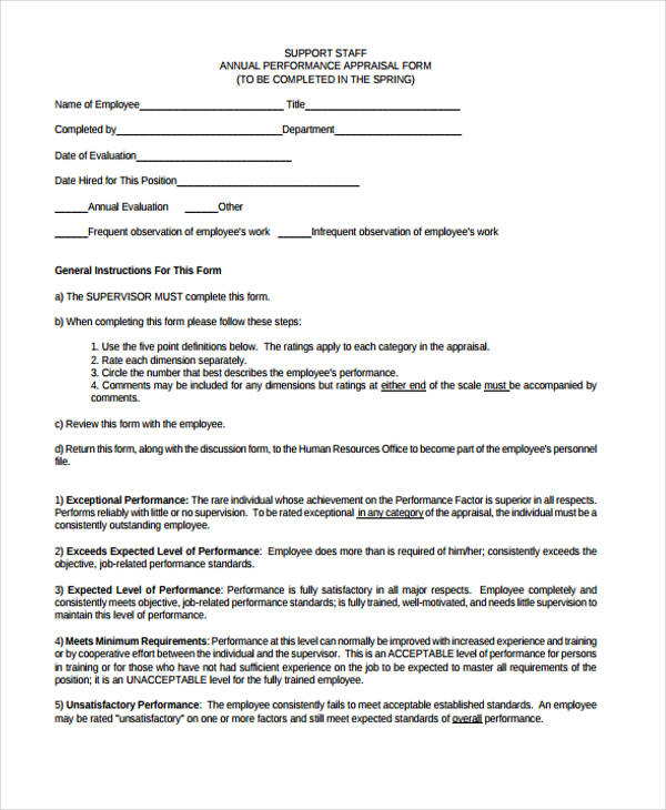 support staff performance appraisal form