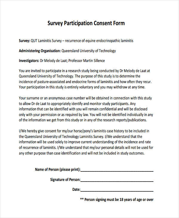 Example of Survey Forms – Survey Consent Form