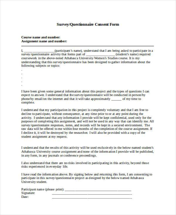 survey questionnaire consent form