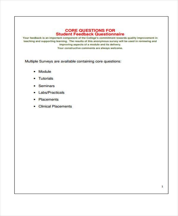 survey questionnaire feedback form