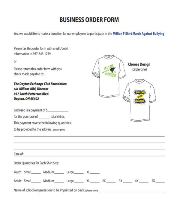 t shirt business order form