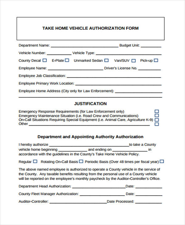 take home vehicle authorization form