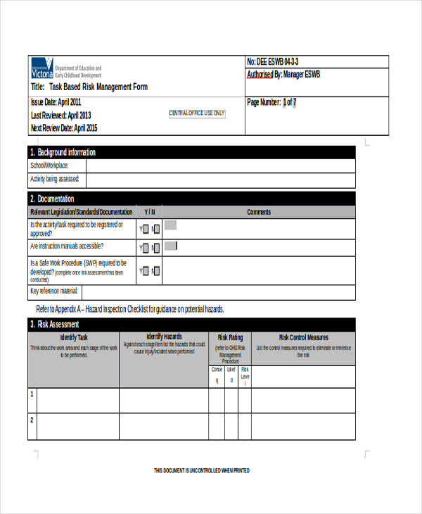 task risk management assessment form1