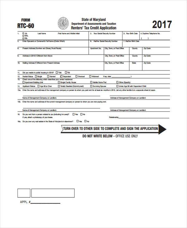tax credit application form1