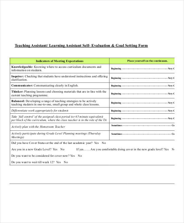 Small Group Evaluation Form. Free Basic Employee Self-Evaluation