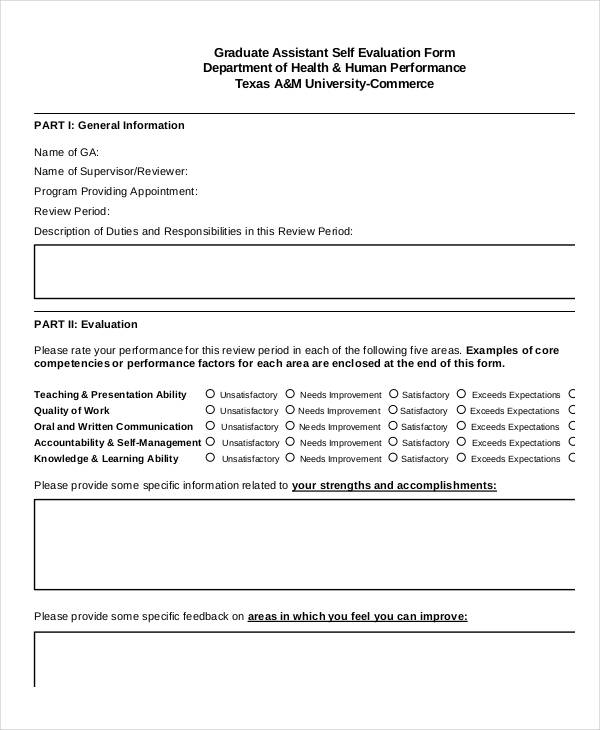 Free SelfEvaluation Forms