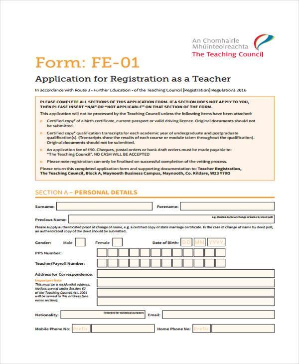 teacher council registration form