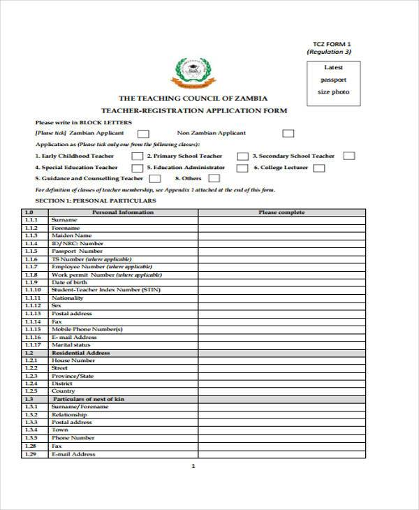 sample teacher registration forms