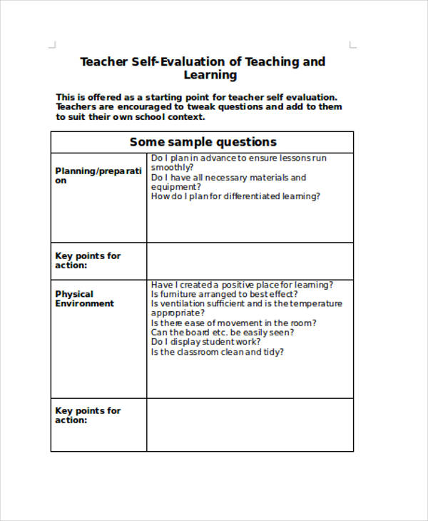 teacher lesson self evaluation form