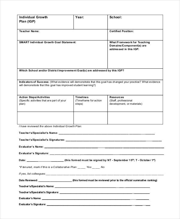 teacher performance evaluation plan form