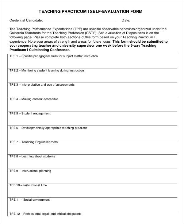 teacher practicum self evaluation form