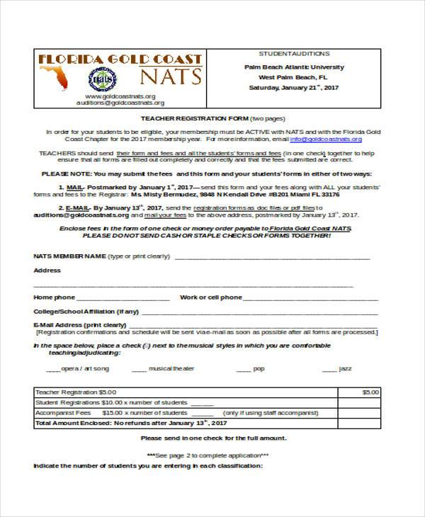 teacher registration form in doc