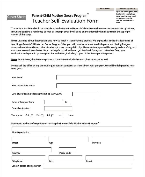 teacher self evaluation form in pdf1