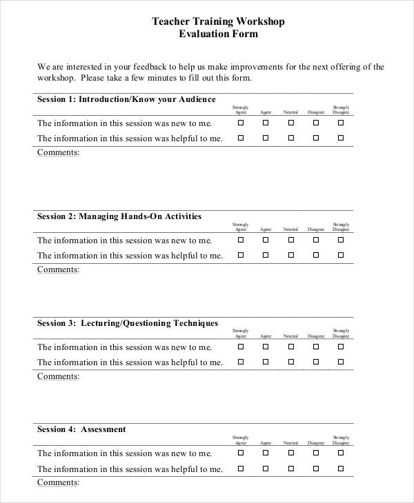 teacher training workshop evaluation form3