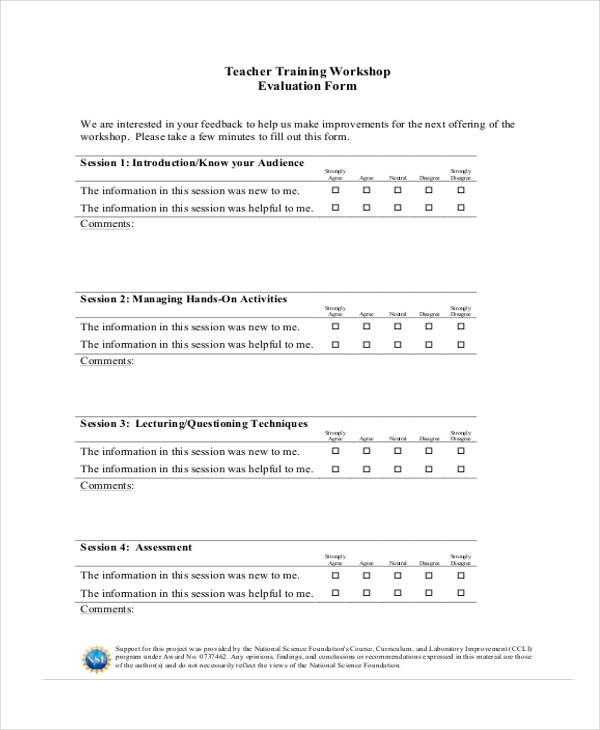 teacher workshop training evaluation form