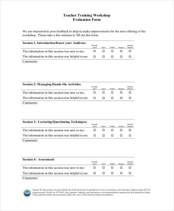 teacher workshop training evaluation form2